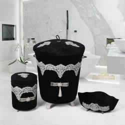 Bonny Home Luxury Siyah 3lü Kadife Çeyizlik Dantelli Banyo Kirli Çamaşır Sepeti Seti