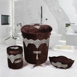 Bonny Home Luxury Kahve 3lü Kadife Çeyizlik Dantelli Banyo Kirli Çamaşır Sepeti Seti