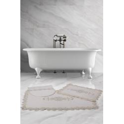 Bonny Home Lisa Köşeli Krem 3'lü Fransız Dantelli Banyo Paspası Seti Çeyizlik Klozet Takımı