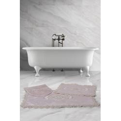 Bonny Home Lisa Köşeli Pudra 3'lü Fransız Dantelli Banyo Paspası Seti Çeyizlik Klozet Takımı