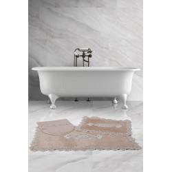 Bonny Home Lisa Köşeli Vizon 3'lü Fransız Dantelli Banyo Paspası Seti Çeyizlik Klozet Takımı