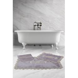 Bonny Home Lisa Köşeli Gri 3'lü Fransız Dantelli Banyo Paspası Seti Çeyizlik Klozet Takımı
