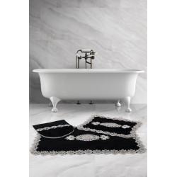 Bonny Home Lisa Köşeli Siyah 3'lü Fransız Dantelli Banyo Paspası Seti Çeyizlik Klozet Takımı