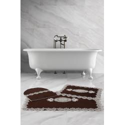 Bonny Home Lisa Köşeli Kahve 3'lü Fransız Dantelli Banyo Paspası Seti Çeyizlik Klozet Takımı