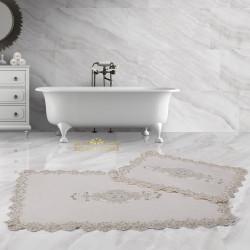 Bonny Home Lisa Köşeli Krem 2'li Fransız Dantelli Banyo Paspası Seti Çeyizlik Klozet Takımı