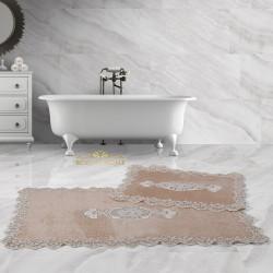 Bonny Home Lisa Köşeli Vizon 2'li Fransız Dantelli Banyo Paspası Seti