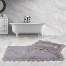 Bonny Home Lisa Köşeli Gri 2'li Fransız Dantelli Banyo Paspası Seti Çeyizlik Klozet Takımı