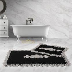 Bonny Home Lisa Köşeli Siyah 2'li Fransız Dantelli Banyo Paspası Seti Çeyizlik Klozet Takımı