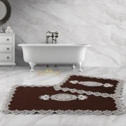 Bonny Home Lisa Köşeli Kahve 2'li Fransız Dantelli Banyo Paspası Seti Çeyizlik Klozet Takımı