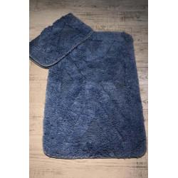 Bonny Home Zeugma Mavi 2'li  %100 Pamuk Banyo Halısı Paspası Seti  Klozet Takımı