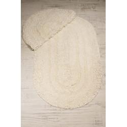 Bonny Home Spagetti Oval Krem 2'li %100 Pamuk Banyo Halısı Paspası Seti Klozet Takımı