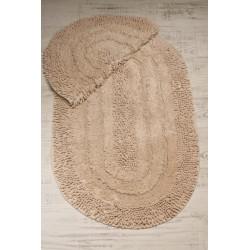 Bonny Home Spagetti Oval Pudra 2'li %100 Pamuk Banyo Halısı Paspası Seti Klozet Takımı
