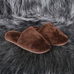 Bonny Home Fluffy Kahverengi Peluş Terlik Kadın Ev BanyoTerliği