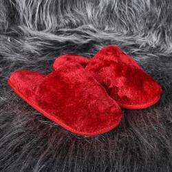 Bonny Home Fluffy Kırmızı Peluş Terlik Kadın Ev BanyoTerliği
