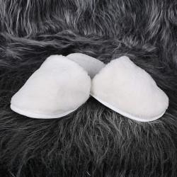 Bonny Home Fluffy Krem Peluş Terlik Kadın Ev BanyoTerliği