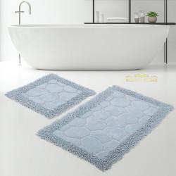 Bonny Home Makarna Taş Aqua %100 Pamuk Banyo Paspası Halısı Seti 2'li Klozet Takımı