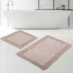 Bonny Home Makarna Taş Kapuçino %100 Pamuk Banyo Paspası Halısı Seti 2'li Klozet Takımı