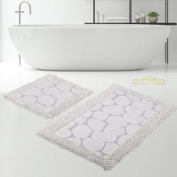 Bonny Home Makarna Taş Krem %100 Pamuk Banyo Paspası Halısı Seti 2'li Klozet Takımı