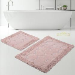 Bonny Home Makarna Taş Pudra %100 Pamuk Banyo Paspası Halısı Seti 2'li Klozet Takımı