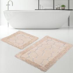 Bonny Home Makarna Taş Vizon %100 Pamuk Banyo Paspası Halısı Seti 2'li Klozet Takımı