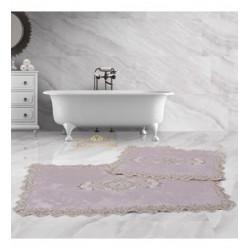 Bonny Home Lisa Köşeli Pudra 2'li Fransız Dantelli Banyo Paspası Seti Çeyizlik Klozet Takımı
