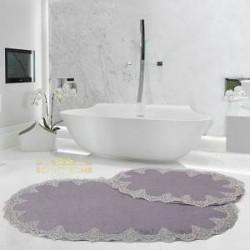 Bonny Home Peluş Lux Oval Gri 2li Dantelli Klozet Takımı Çeyizlik Banyo Halısı Paspası Seti