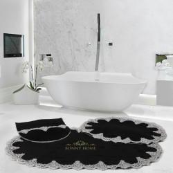 Bonny Home Peluş Lux Oval Siyah 3lü Dantelli Klozet Takımı Çeyizlik Banyo Halısı Paspası Seti