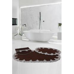 Bonny Home Peluş Lux Oval Acı Kahve 3lü Dantelli Klozet Takımı Çeyizlik Banyo Halısı Paspası Seti