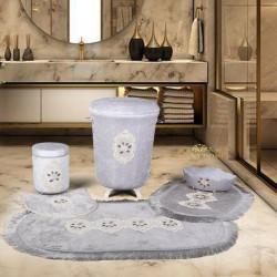 Bonny Home Shems Gri 6'lı Banyo Seti Kirli Çamaşır Sepeti Seti + Banyo Paspası Seti