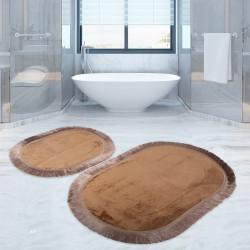 Bonny Home Pera Kapuçino 2'li Banyo Paspası Seti Kaymaz Tabanlı Saçaklı Püsküllü Klozet Takımı