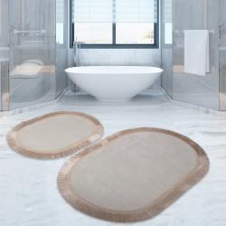 Bonny Home Pera Krem 2'li Banyo Paspası Seti Kaymaz Tabanlı Saçaklı Püsküllü Klozet Takımı