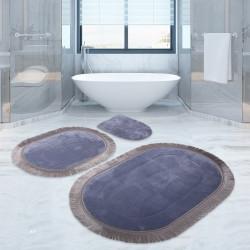 Bonny Home  Pera Gri 3'lü Banyo Paspası Seti Klozet Takımı