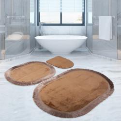 Bonny Home Pera Kapuçino 3'lü Banyo Paspası Seti Klozet Takımı
