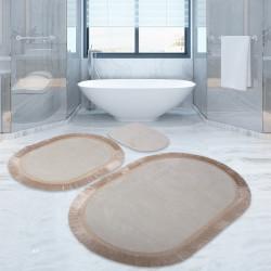 Bonny Home Pera Krem 3'lü Banyo Paspası Seti Kaymaz  Klozet Takımı