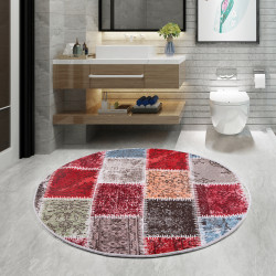 Bonny Home Lotto Bordo Yuvarlak 100x100 cm Banyo Paspası  Halısı