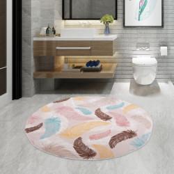 Şark Mavi Yuvarlak 100x100 cm Banyo Paspası Halısı