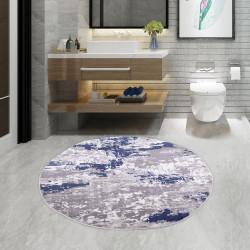 Bonny Home Tuval Mavi Yuvarlak 100x100 cm Banyo Paspası Halısı