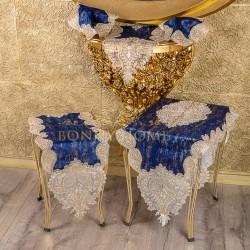 Bonny Home Nurbanu Mavi Gardenya Üzeri Gold Dantelli 5 Parça Salon Takımı Masa Örtüsü Runner Seti