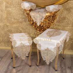 Bonny Home Nurbanu Krem Linen Üzeri Gold Dantelli 5 Parça Runner Seti Salon Takımı Masa Örtüsü