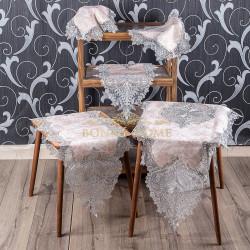 Bonny Home Efsun Kapuçino Gardenya Üzeri Gümüş Dantelli 5 Parça Salon Takımı Masa Örtüsü Runner Seti