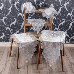 Bonny Home Efsun Kapuçino Kadife Üzeri Gümüş Dantelli 5 Parça Salon Takımı Masa Örtüsü Runner Seti