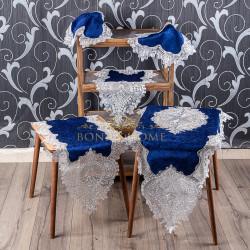 Bonny Home Efsun Mavi Kadife Üzeri Gümüş Dantelli 5 Parça Salon Takımı Masa Örtüsü Runner Seti