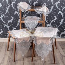 Bonny Home Efsun Pudra Kadife Üzeri Gümüş Dantelli 5 Parça Salon Takımı Masa Örtüsü Runner Seti