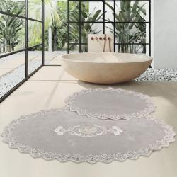 Bonny Home Cotton Lux Gri 2'li Pamuk Banyo Halısı Paspası Seti Çeyizlik Klozet Takımı
