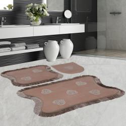 Bonny Home Kalp Dantelli Vizon 3'lü Banyo Paspası Seti Kaymaz Tabanlı Çeyizlik  Klozet Takımı