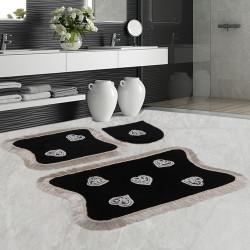 Bonny Home Kalp Dantelli Siyah 3'lü Banyo Paspası Seti Kaymaz Tabanlı Çeyizlik  Klozet Takımı