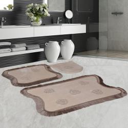 Bonny Home Kalp Dantelli Kapuçino 3'lü Banyo Paspası Seti Kaymaz Tabanlı Çeyizlik  Klozet Takımı