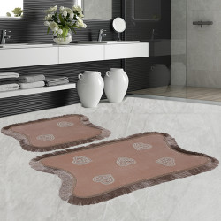 Bonny Home Kalp Dantelli Vizon 2'li Banyo Paspası Seti Kaymaz Tabanlı Çeyizlik  Klozet Takımı
