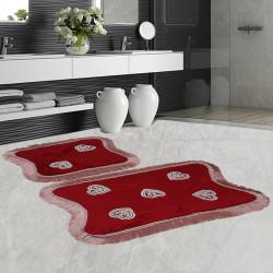 Bonny Home Kalp Dantelli Bordo 2'li Banyo Paspası Seti Kaymaz Tabanlı Çeyizlik  Klozet Takımı