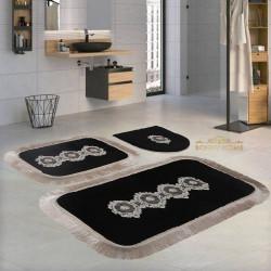 Bonny Home Shems Köşeli Siyah 3'lü Banyo Paspası Seti Kaymaz Tabanlı Çeyizlik Dantelli Klozet Takımı